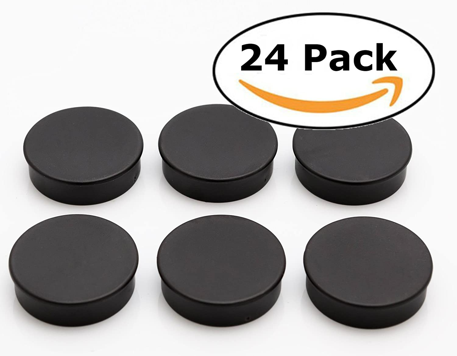 Bullseye Office Magnets (24 Pack) - Black Round, Refrigerator Magnets - Perfect as Whiteboards, Lockers, or Fridge Magnets [Black]