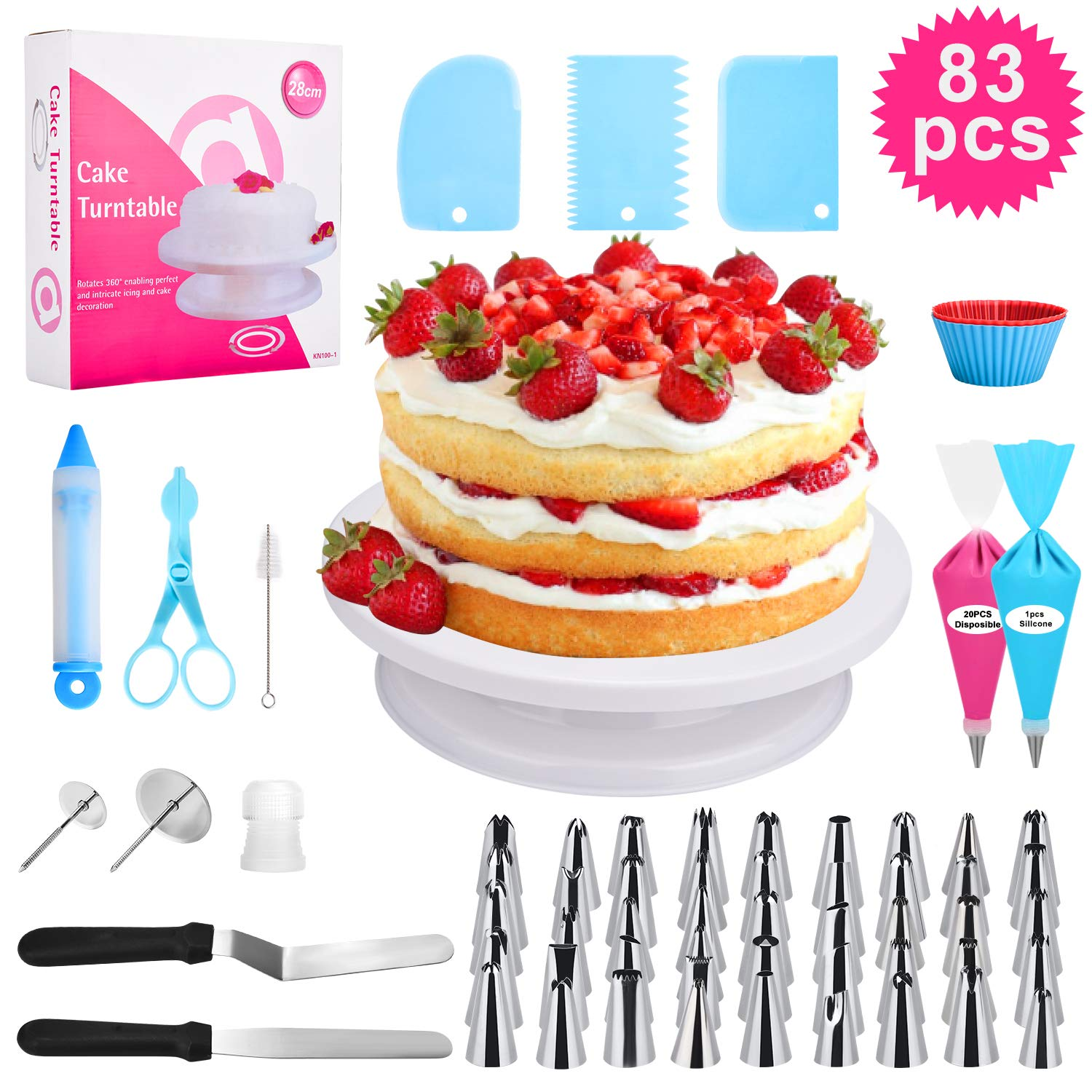 83 pcs Cake Decorating Supplies Kit,For Beginners-Cake Turntable Stand-Icing Tips, Pastry Bags, Icing Spatula, Icing Smoother,Flower Nails,Flower Lifters,Decorating Pen,Cupcake Molds,Cleaning Brush