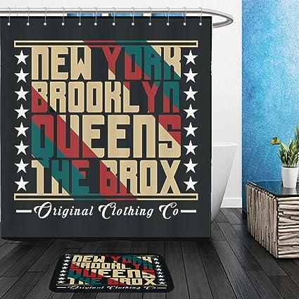 Vanfan Bathroom 2 Suits 1 Shower Curtains Floor Matsnew York Typography Shirt Ny Design