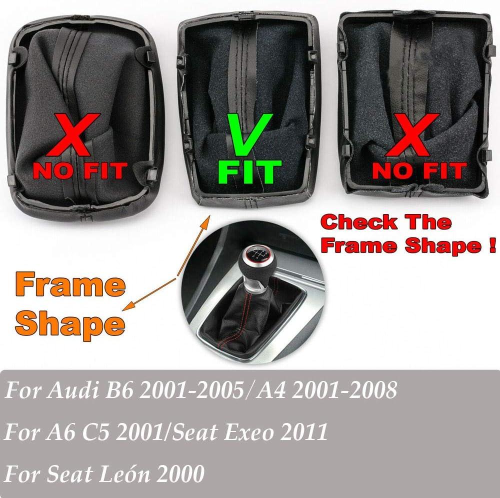 Leon 2011 2001-2005 Cadre de d/émarrage /à bouton de changement de vitesse HDCF chrome-argent 5 vitesses rouge pour A4 A6 C5 B6 2001 2000 pour Seat Exeo 2001-2008