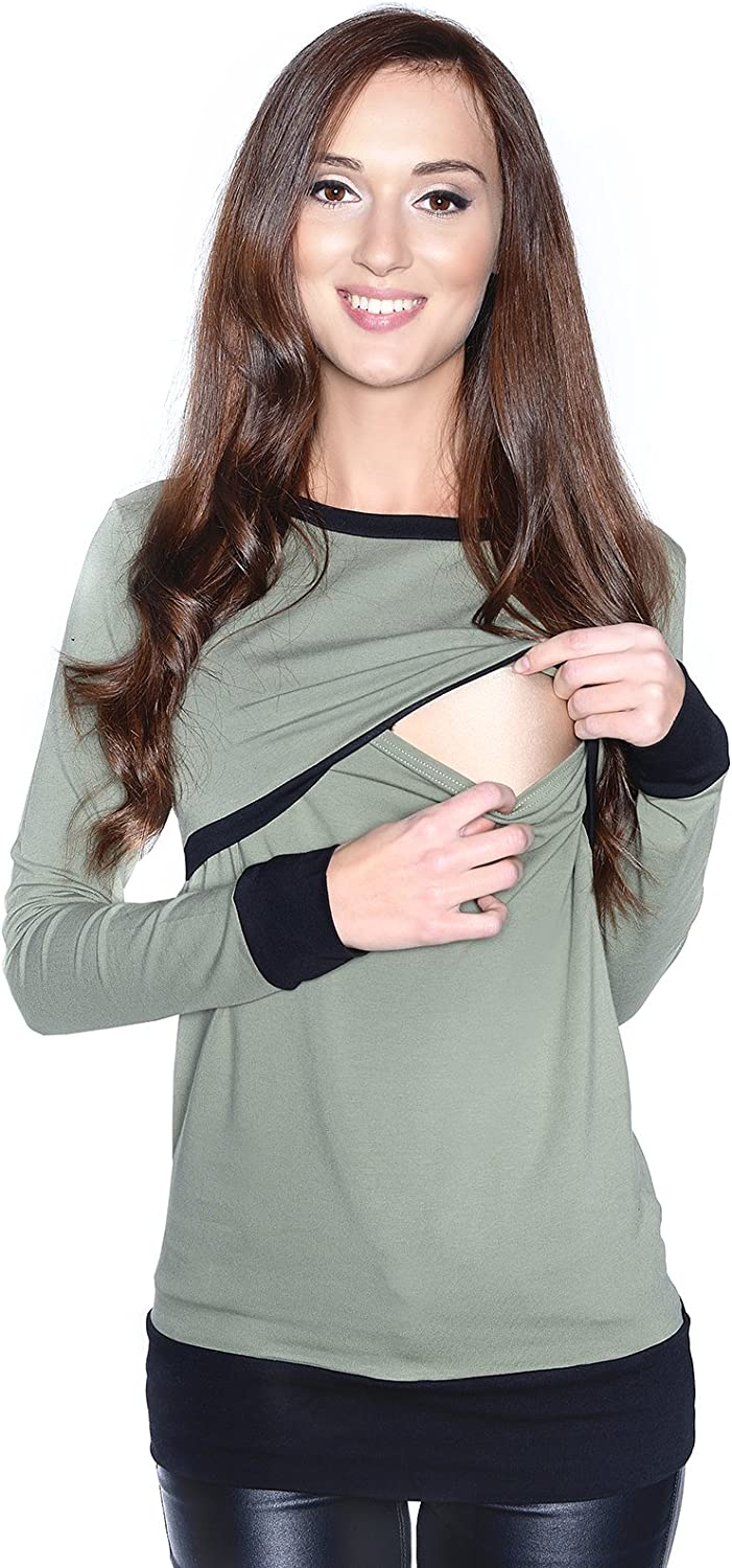 2 in1 Maternity and Nursings Long sleeve Shirt Top Soft material 9048 Mija