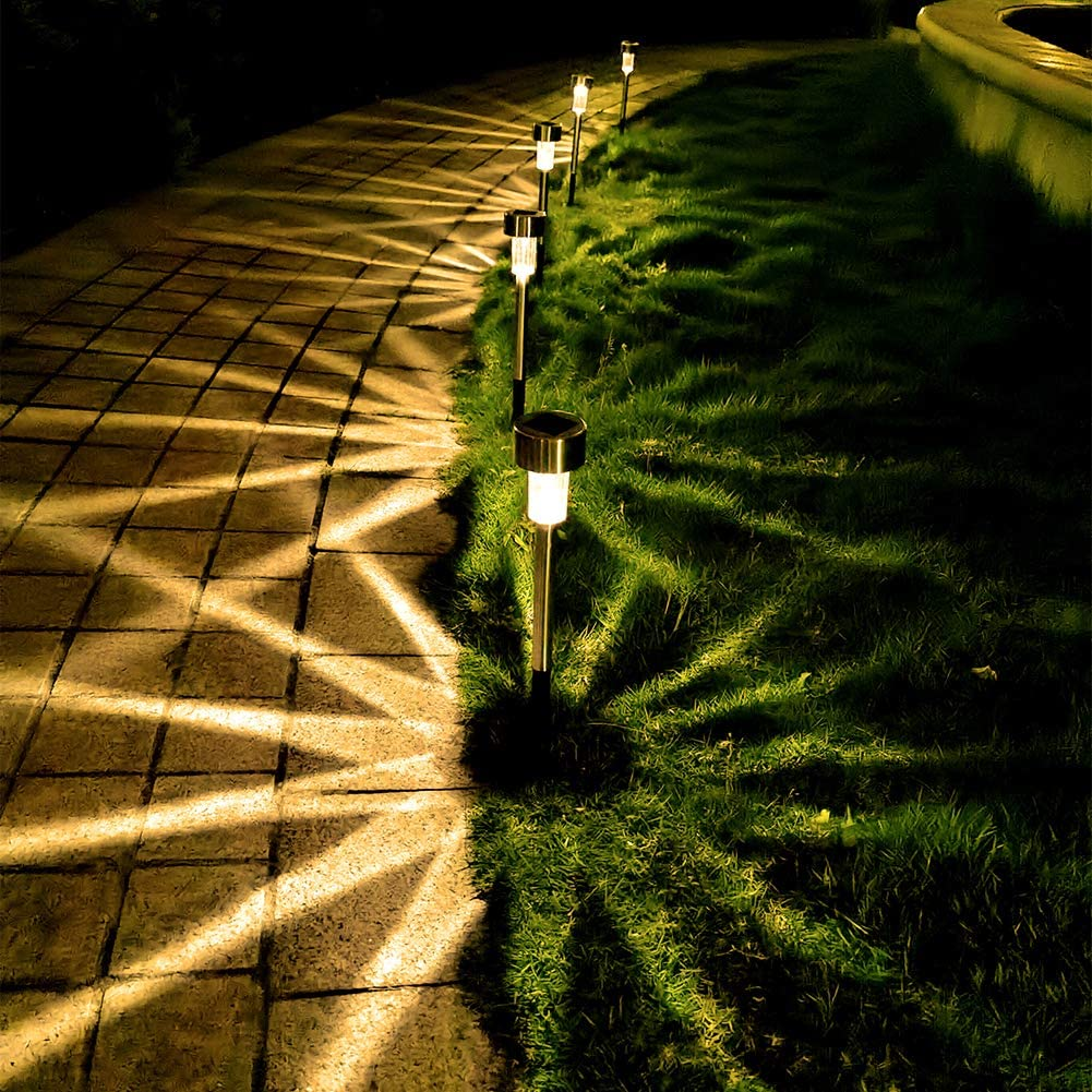 Solar Lights, Solar Lights Outdoor Garden Lights Landscape Lighting Pathway Lights for Lawn Patio Stainless Steel-12 Pack(Warm White)
