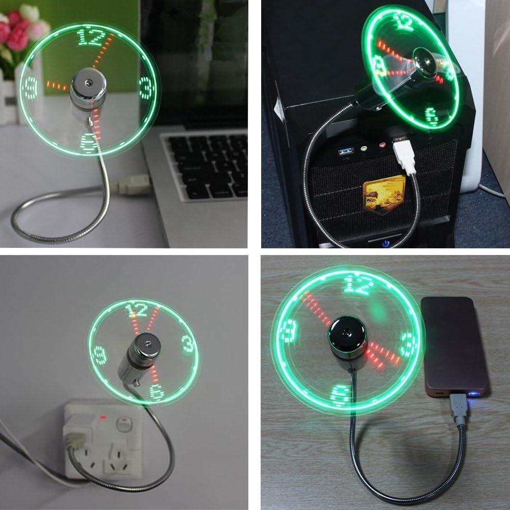 USB LED Clock Fan FABSELLER Adjustable USB Powered Mini LED Cooling Fan Flashing Real Time Display Multifunctional Clock Fan