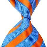 Allbebe Large Striped Blue Orange 100% Silk Business Casual Men's Tie Necktie