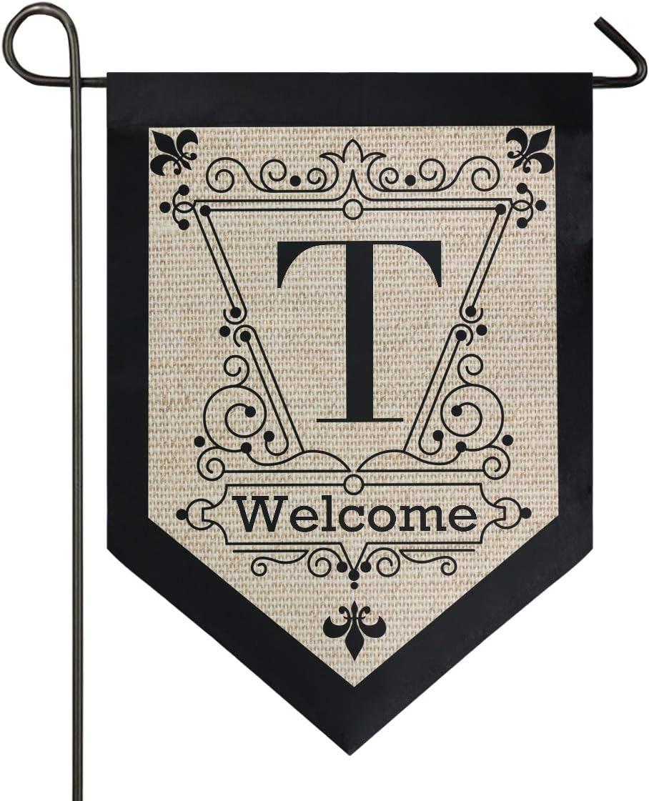 Oarencol Vintage Monogram Letter T Welcome Fleur De Lis Flower Garden Flag Double Sided Home Yard Decor Banner Outdoor 12.5 x 18 Inch
