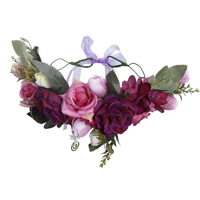Bows Pink /& Purple Floral Headwrap