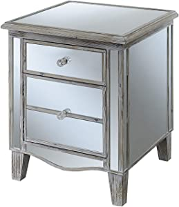 Convenience Concepts Gold Coast Mirrored End Table, Weathered White