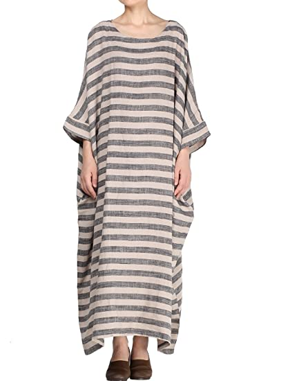063a7ee185 Mordenmiss Women's Cotton Linen Dress Stripes Plus Size Dresses
