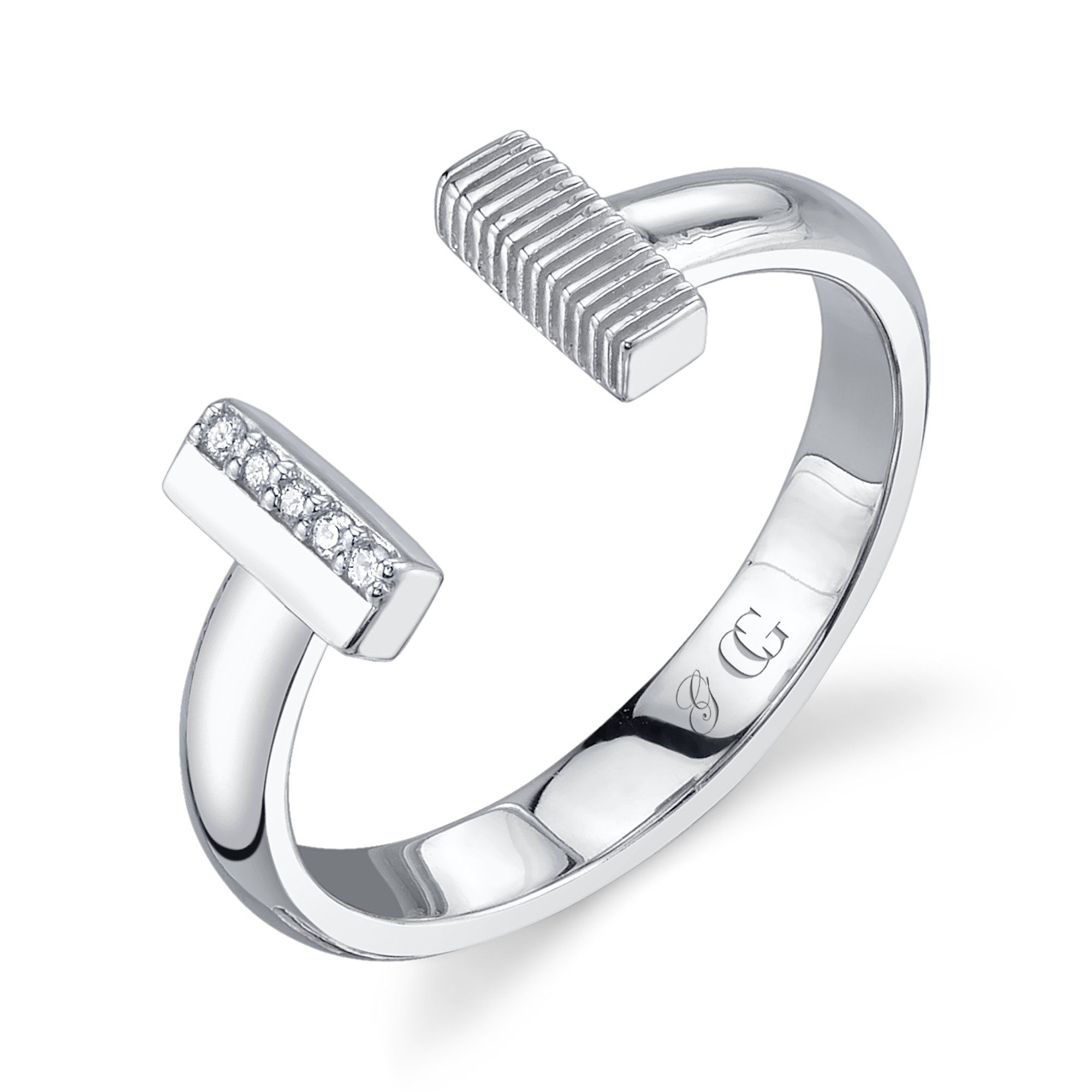 CHARLIZE GADBOIS 925 Sterling Silver Diamond Bar Ring for Women (0.025 cttw, I1-I2 Clarity), Size 8