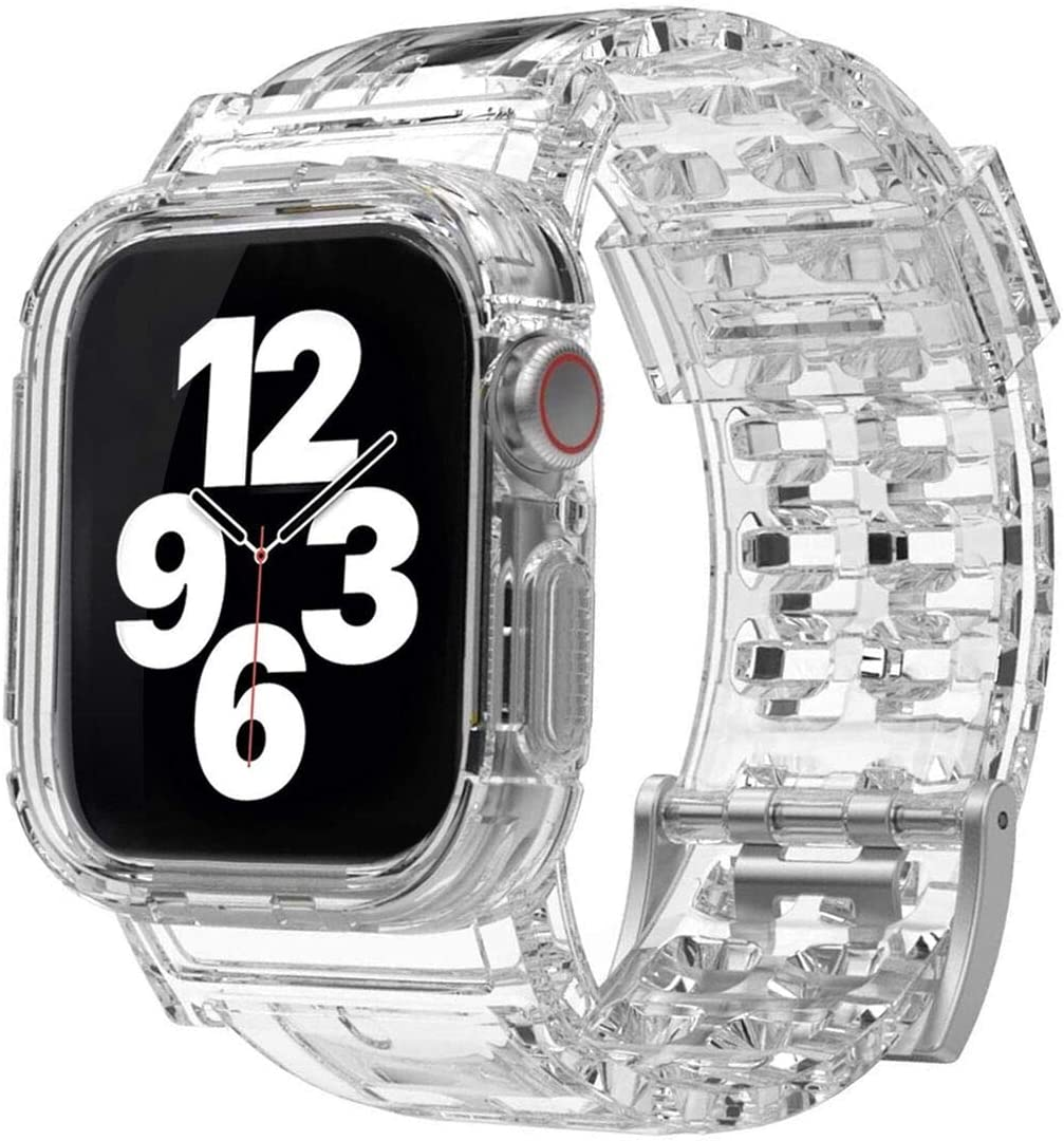 SUPSUN Compatible for Apple Watch Band 38mm 40mm 42mm 44mm with Bumper Case, Rugged Clear Bands for Apple Watch Series SE/6/5/4/3/2/1