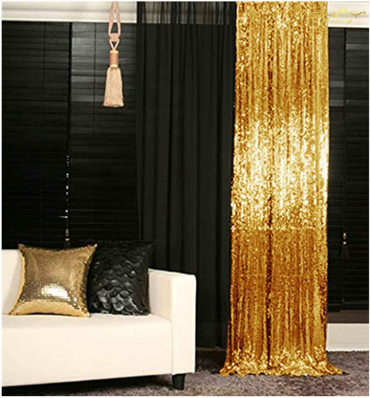 Gold Sequin Curtains Sequin Backdrop 4×8 Feet Sheer Curtans Panels Wedding Photo Backdrop Sequin Backdrop Curtains for Parties 4FTx8FT, Gold