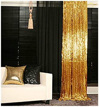 Amazon Sequin Curtain Backdrop 2 Panels 4FTx8FT Gold Sheer