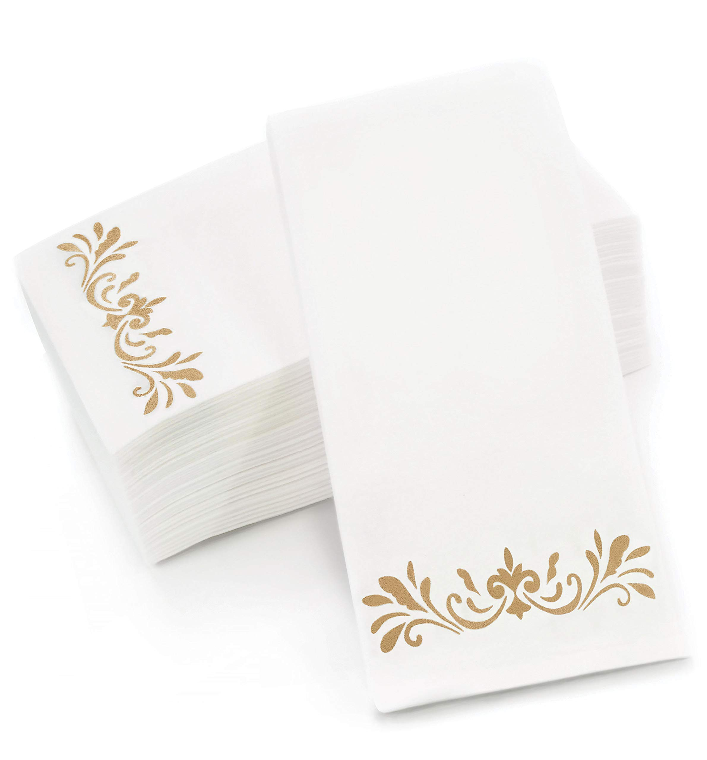 CAVEPOP Gold Dinner Napkins, Disposable Party Napkins, Paper Napkins Decorative, Linen Feel Disposable Hand Towels for Wedding, Guest Bathroom & More - White with Gold, 100 Pack, 8.25 x 4 Inches