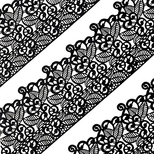 Funshowcase Large Pre-Made Ready to Use Edible Cake Lace Leaf Scroll Black 14-inch 10-piece Set