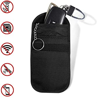 Car Key Signal Blocker Case Faraday Bag Anti-Theft Protector Cage for Keyless Remotes Control Entry Fob Signal Blocking Pouch Bag RFID WiFi GSM LTE Shielding for Cars Motorbikes Cards Case