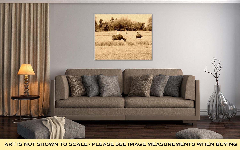 Ashley Canvas Thai Buffalo Walk Over The Field Go Back Home With Sunset Life, Wall Art Home Decor, Ready to Hang, Sepia, 16x20, AG6344413