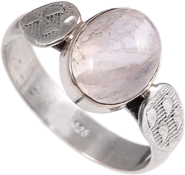 Anillo de plata de ley 925 para mujer|anillo de piedra preciosa natural Arco iris blanco|Banda de boda para las mujeres|Piedras preciosas anillo, anillo de compromiso|Tamaño del anillo 13 (R-61)
