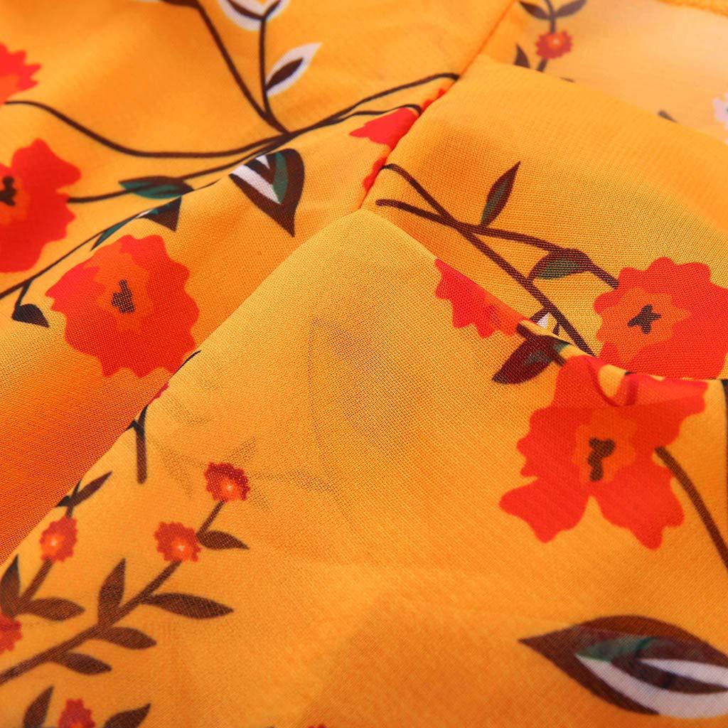 Rouge, Orange, S-XL ❀Robe de Femme❀ Robe Courte /à Manches Courtes pour Femmes imprim/ée en Mousseline de Soie avec Une Mini-Jupe Robe de soir/ée des f/êtes