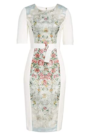 2adc01a753f7 Amazon.com  Ted Baker Pale Blue Dorn Patchwork Print Bodycon Dress ...