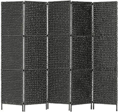vidaXL Biombo Separador 5 Paneles Plegables Divisor Ambientes Decorativo Metal Jacinto Agua Paravientos Protección Privacidad Jardín Terraza Negro: Amazon.es: Hogar