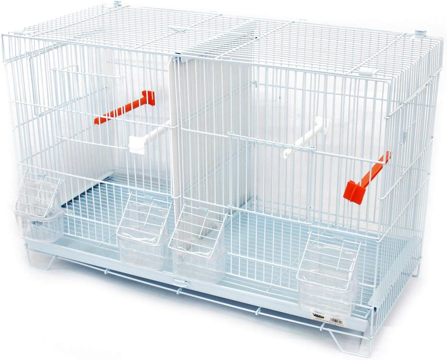 BPS Jaula de Incubación Jaula de Cría para Pájaros con Comedero Bebedero Saltador Cubeta Tamaño M/L (L: 60 x 26 x 40 cm) BPS-1305