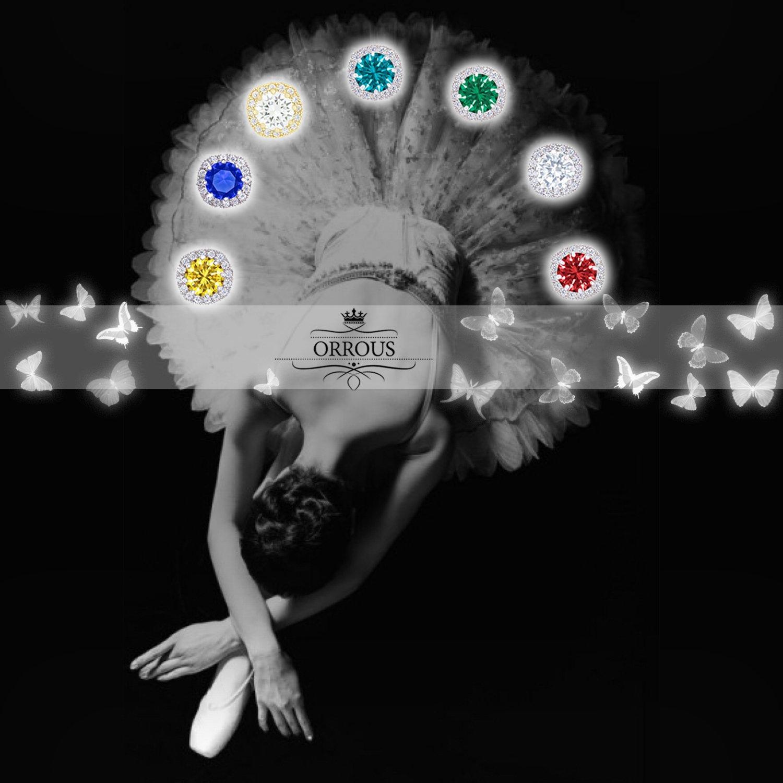 ORROUS & CO Women's 18k Cubic Zirconia Earrings - Beautiful White Gold Plated Studs - 1.90 Carats Round Cut Cubic Zirconia - Cushion Shaped Gemstone Halo - Beautiful & Elegant Gift Idea by ORROUS & CO (Image #5)