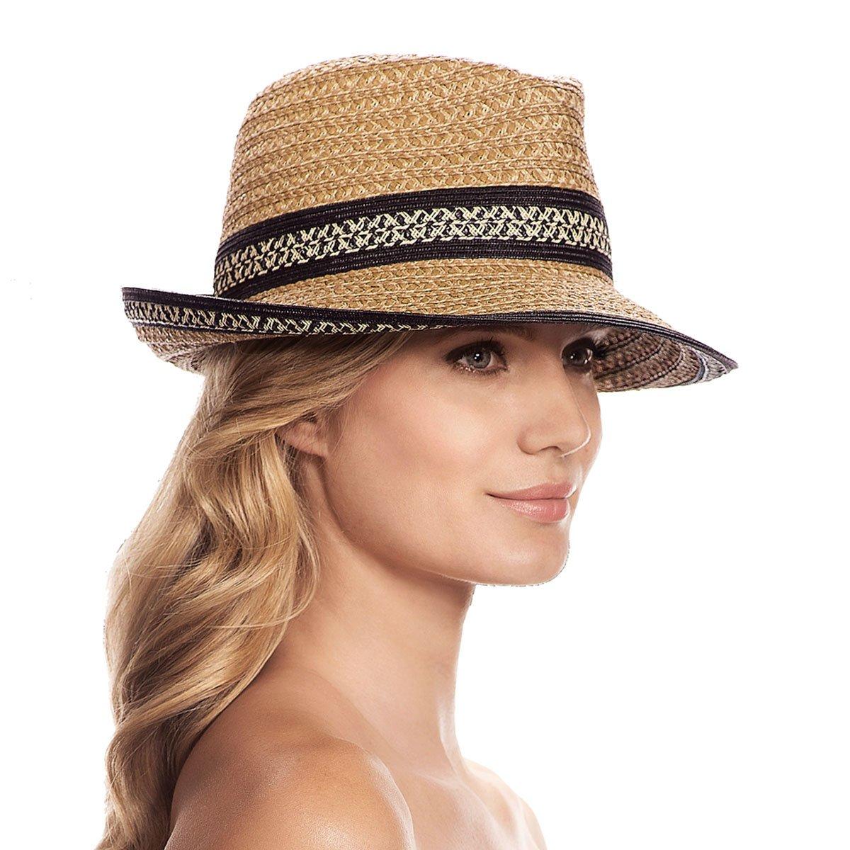 Eric Javits Luxury Fashion Designer Women's Headwear Hat - Big Deal - Natural Black Mix