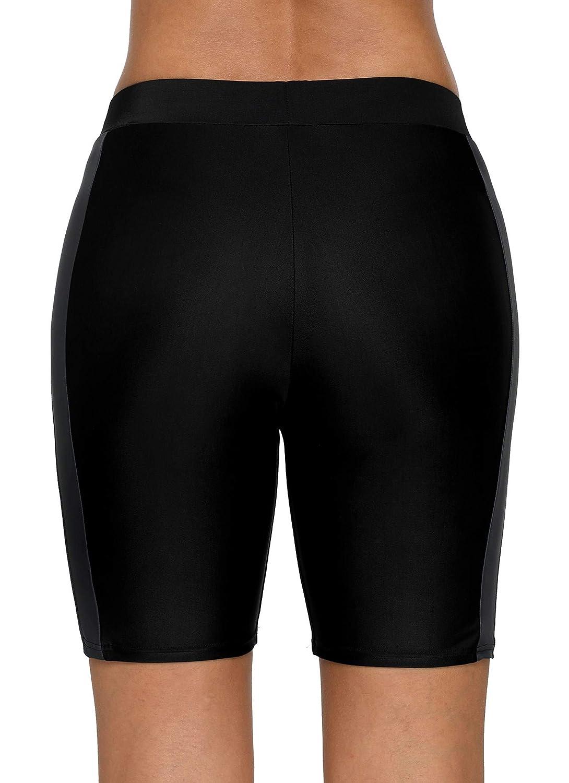 ATTRACO Womens Long Board Shorts High Waist Swim Bottom Solid Jammer Swim Shorts