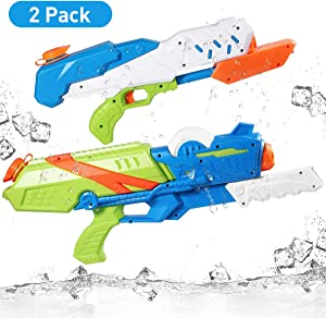 iBaseToy 2 Pack Super Water Gun, 10M Long Range Squirt Guns Water Soaker Blaster for Kids Adults,1000CC/ 570CC High Capacity Squirt Toy Water Fighting Toys for Boys Girls