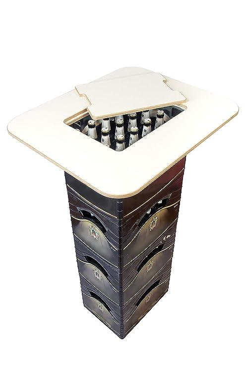 Mesa alta para cajas de cervezas Bikati®, para cajas estrechas y anchas, con abrebotellas integrado, ...