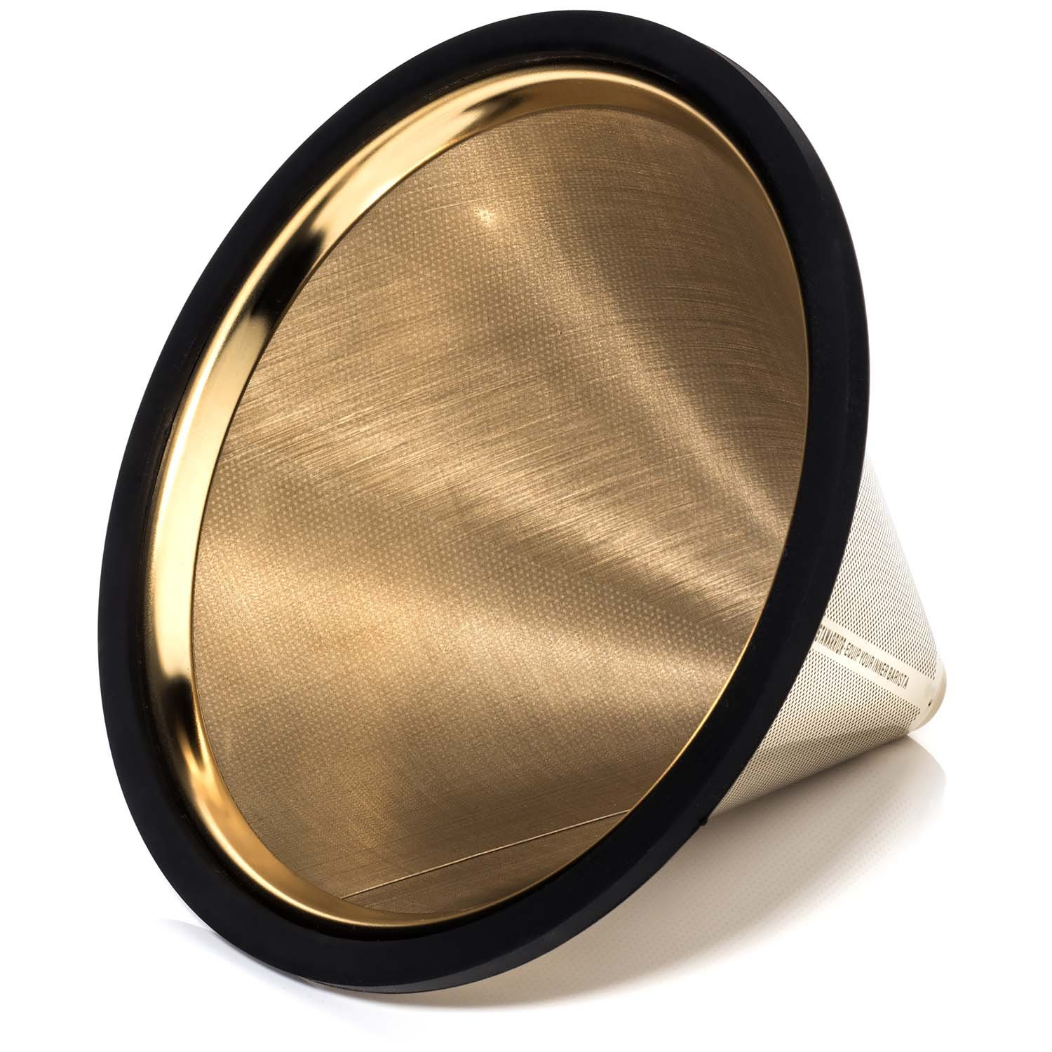 TITANIUM COATED GOLD Pour Over Coffee Filter - Reusable Stainless Steel Drip Cone for Chemex, Hario V60, Carafes and Other Coffee Makers by Barista Warrior (Image #3)