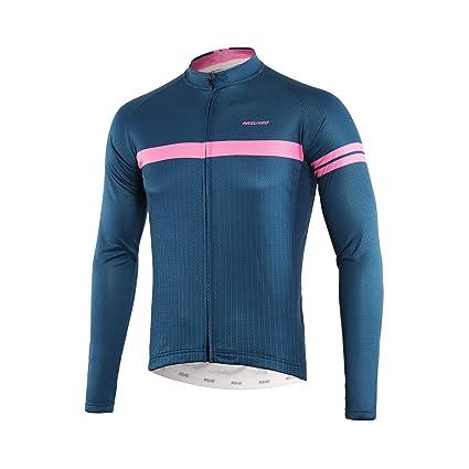 74e012264 ARSUXEO Men s Printed Cycling Jersey Long Sleeves Mountain Bike Shirt MTB  Top Zipper Pockets Reflective Z911