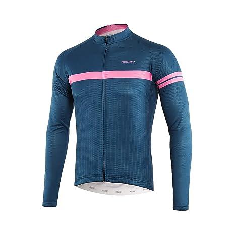 c9ffb11feaa ARSUXEO Men s Printed Cycling Jersey Long Sleeves Mountain Bike Shirt MTB  Top Zipper Pockets Reflective Z911