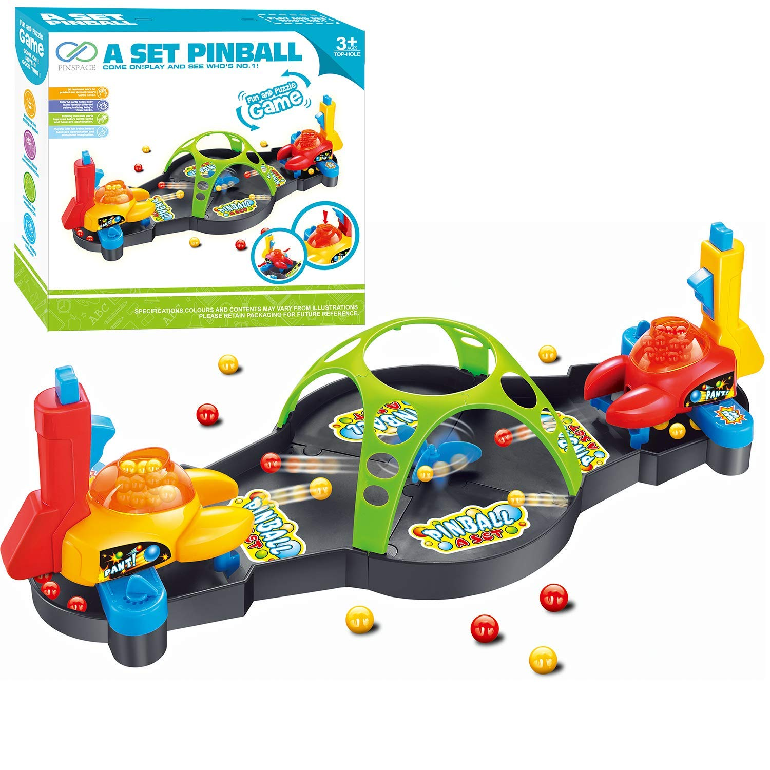 PinSpace Board Games for Kids, Pinball Game Set Fun Puzzle Toy Strategy Concentrated Game Board Family Party for Kids 3 Year and up, 2018 New by PinSpace