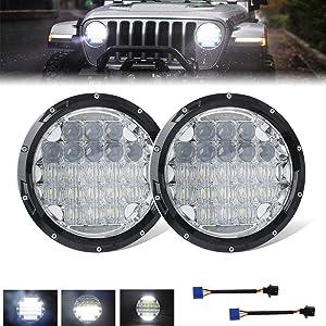 UNI-SHINE 7 inch LED Headlight Round Angel Eyes White DOT E-MARK Approved 6500K Hi/lo Beam and DRL lamp for Jeep Wrangler JK LJ TJ CJ, J005B-pair
