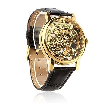 59cf3aba9428f6 Culater® Hommes Luxe Mécanique Squelette Montre Vent Main Bracelet en Cuir  Montre Or