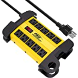 CRST 10-Outlets Heavy Duty Power Strip Metal Surge Protector with 15 Amps, 15-Foot Power Cord 2800 Joules for Garden, Kitchen, Office, School, ETL Listed(3165047) (10-Outlet, Yellow)