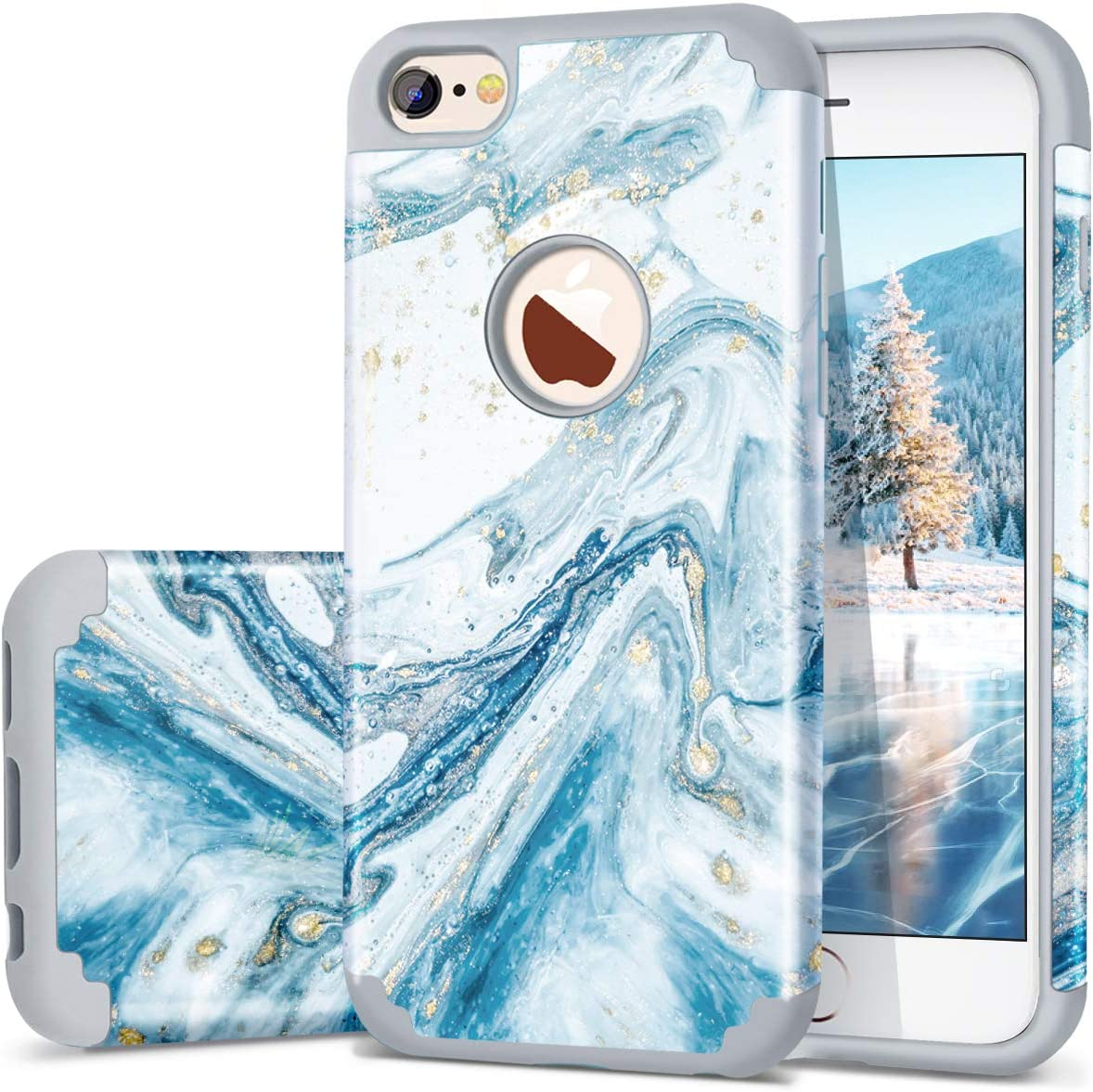 Fingic iPhone 6 6S Case, Marble Design Slim Case Glitter Bumper Hard PC Soft Rubber Anti-Scratch Shockproof Protective Phone Case Cover for Apple iPhone 6s iPhone 6 (4.7 inch) - Blue Marble