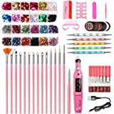 Nail Art Tool Set Pink USB Polisher Painted Pen Point Drill Pen Rhinestone Sequins, 10-piece set