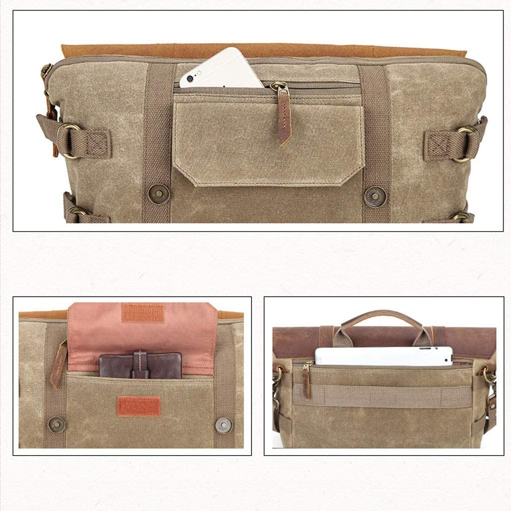 Color : Khaki Retro Waterproof Batik Canvas Bag Shoulder Digital Photography Bag Diagonal Digital Camera SLR Package