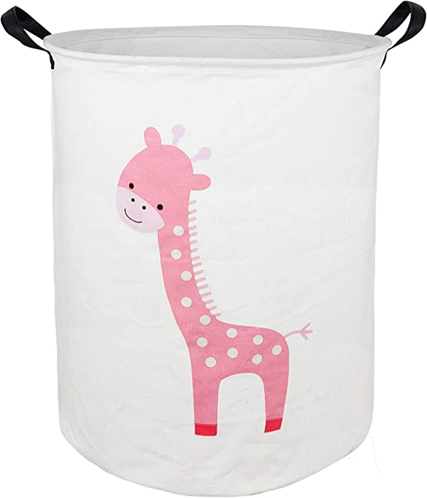 KUNRO Large Sized Storage Basket Waterproof Coating Organizer Bin Laundry Hamper for Nursery Clothes Toys (Giraffe)