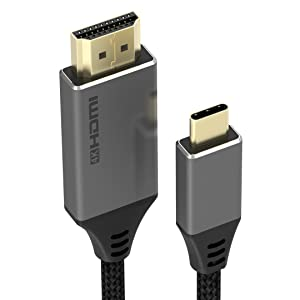 JYFT USB C to HDMI Cable for Home Office 10FT/3m, 4K Type C to HDMI Cord (Compatible with Thunderbolt 3) for MacBook Air/Pro, Surface Book 2 and More.