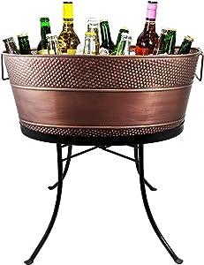 BREKX Aspen Hammered Galvanized Beverage Tub with Stand (Copper)