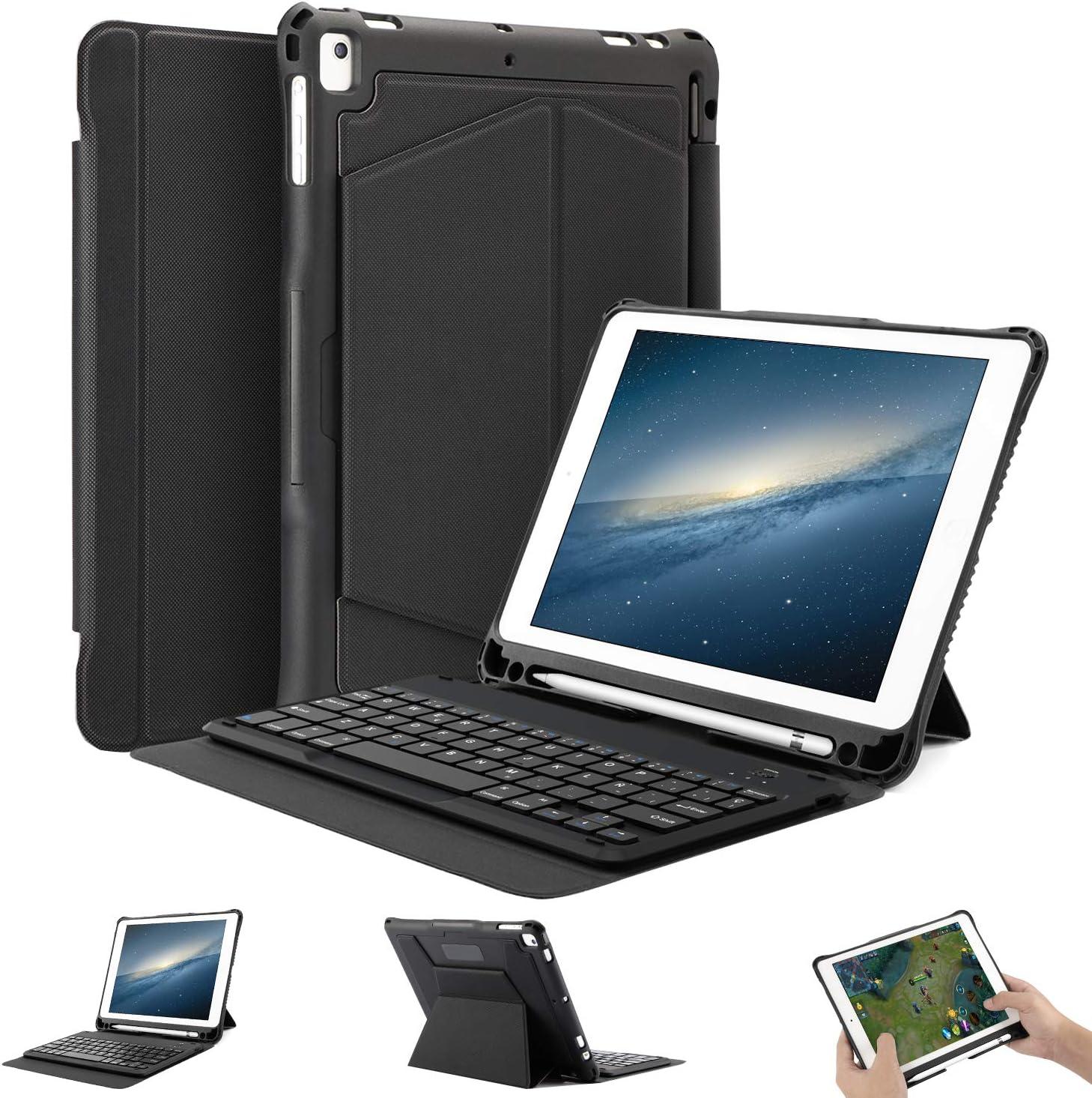 OMOTON Funda con Teclado para iPad 9.7 2018/iPad 9.7 2017(6Gen), Funda iPad con Teclado para iPad pro9.7/iPad Air 9.7, Funda con Teclado español de Bluetooth con Ranura Incorporado de lápiz, Negro.