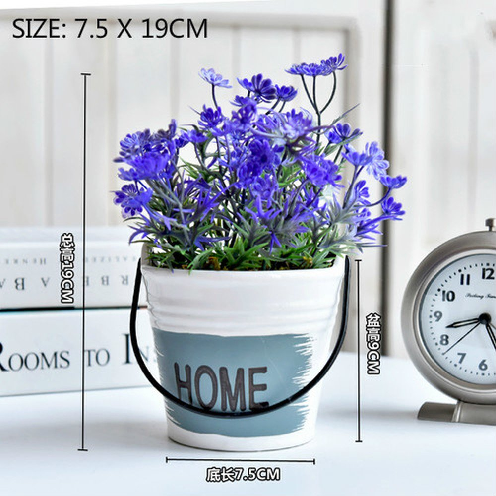 1 PCS Home accessories living room window sill idyllic bonsai decoration green plant decoration simulation plant pot AP5221644 (Color : Blue)