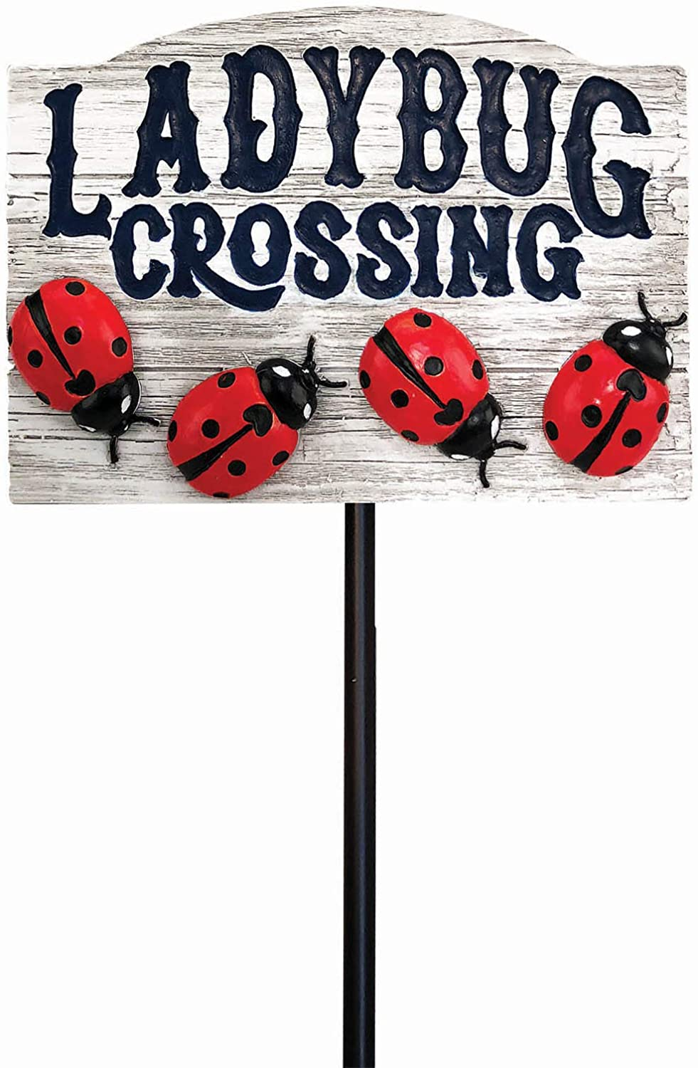 Spoontiques 21228 Ladybug Crossing Garden Stake, Multicolored