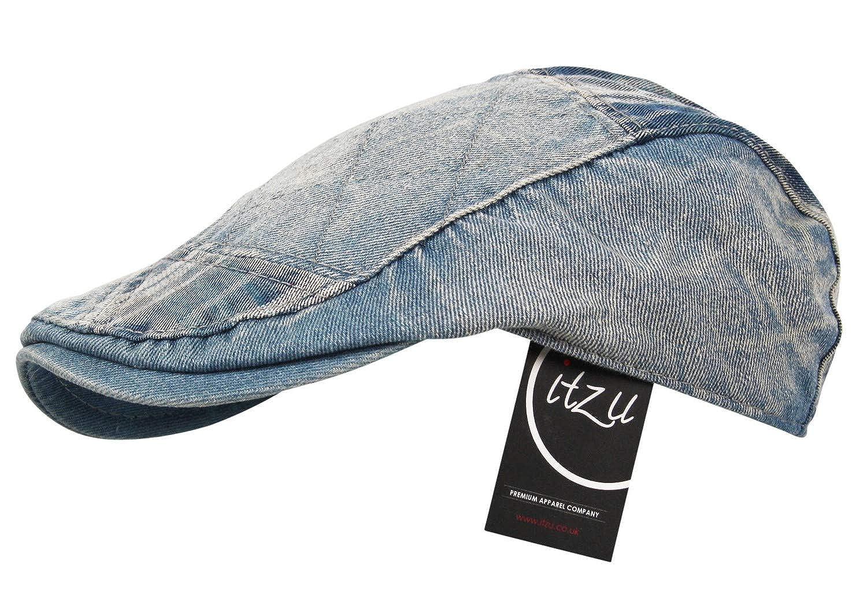 f0b52b100ac Itzu Men s Distressed Denim Wash Patchwork Check Adjustable Cotton Flat Cap  (Light Wash)  Amazon.co.uk  Clothing