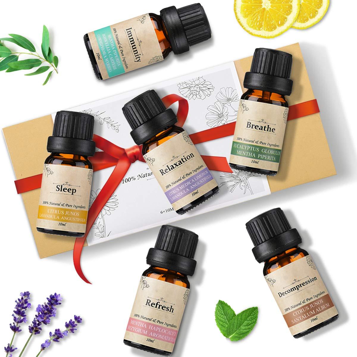 Janolia Aceites Esenciales, 6x10ML Aceites de Aromaterapia Pura Set, Sueño, Respira, Relajación