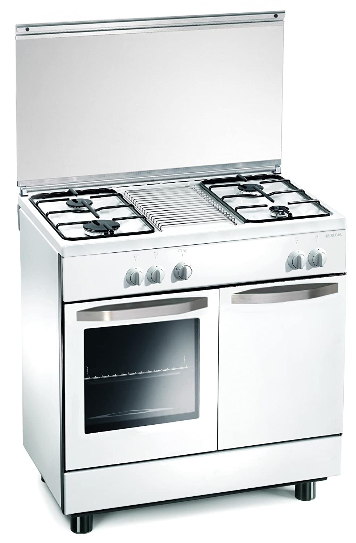 Cucina a gas 80x50x85 cm bianca 4 fuochi con forno a gas - Regal ...