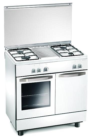 cucina a gas 80x50x85 cm bianca 4 fuochi con forno a gas regal re7252w